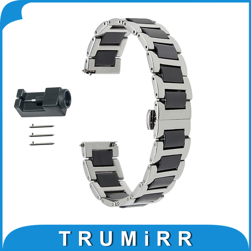 18mm 20mm 22mm Ceramic + Stainless Steel Watch Band for Hamilton Butterfly Buckle Strap Quick Release Wrist Belt Bracelet 18mm 20mm 22mm quick release watch band butterfly buckle strap for tissot t035 prc 200 t055 t097 genuine leather wrist bracelet