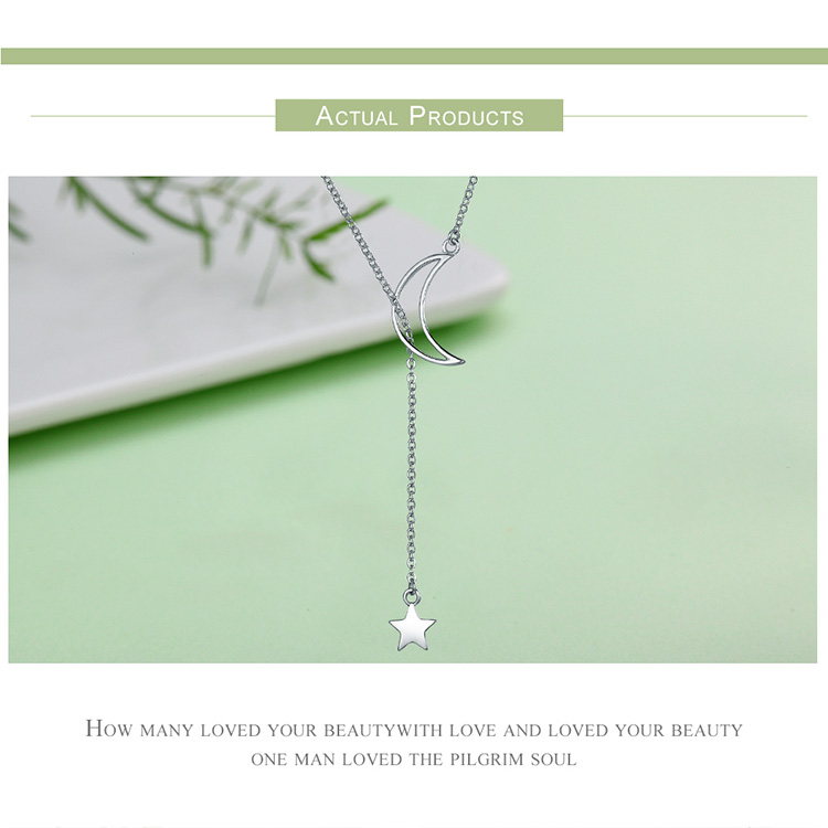 HTB1lmhHXu285uJjSZFwq6A.cVXaX BAMOER New Arrival Fashion 925 Sterling Silver Moon and Star Tales Chain Link Pendant Necklaces for Women Fine Jewelry SCN108