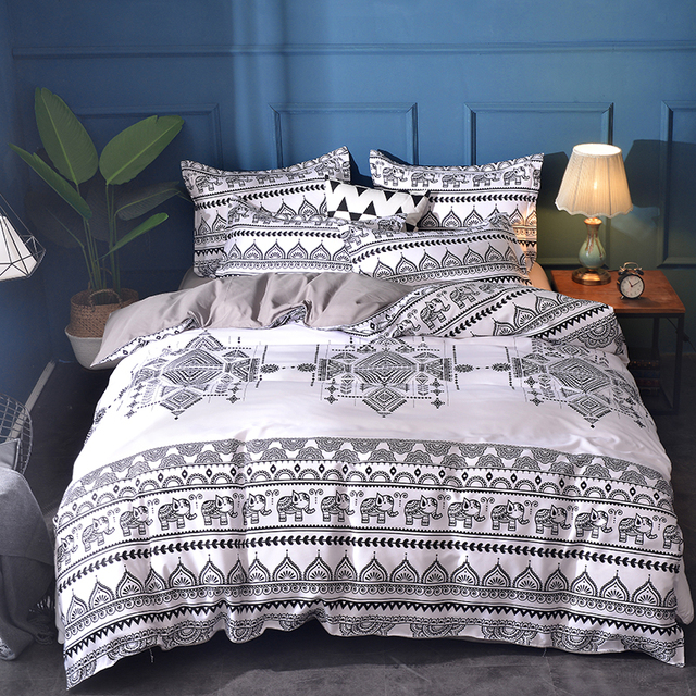 Grey Elephant Boho Duvet Cover Set