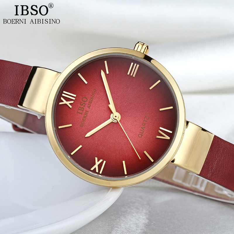 IBSO Red Fashion Leather Watches Women Luxury Gold Quartz Watches Ladies Analog Clock Reloj Mujer 2018 Women Wrist Watch #3923 fashion roman numerals watches women s clock geneva leather strap analog quartz watch ladies casual pink wrist watches reloj lh