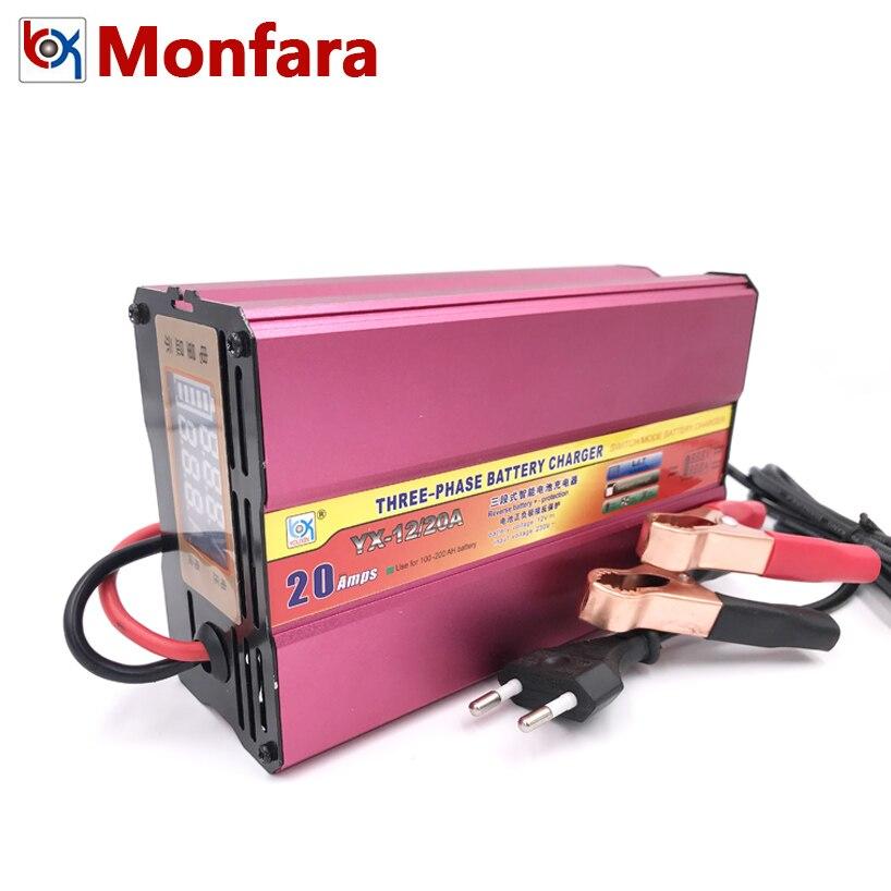 12 v 20A Auto Batterie Ladegerät Auto Motorrad Boot Gabelstapler Lkw Blei Säure AGM GEL Batterien Lade 12 Volt 20 AMP 100AH 200AH