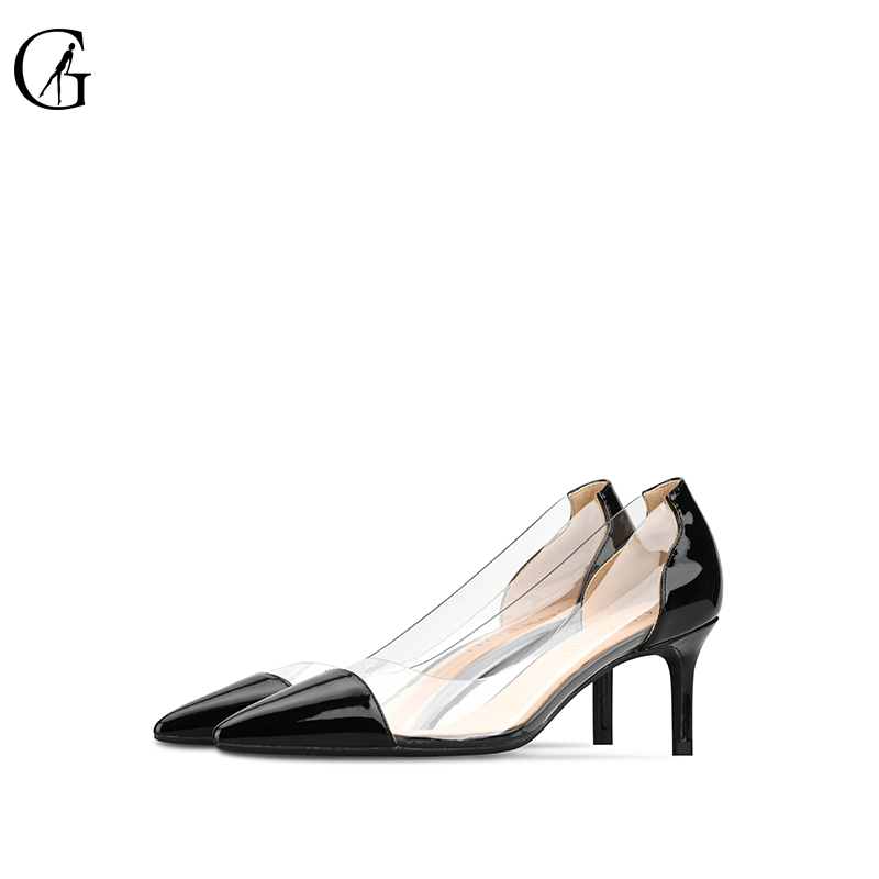 GOXEOU 2020 Women PVC Pumps Heels Transparent Low-Heeled Shoes Sexy Pointed Toe Slip-on Black Wedding Party Casual Pluz 32-46