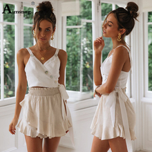 2019 New Summer Red Tank Crop Vest Woman Vacation Casual Lace-up button Bow V-neck Crop Spaghetti Strap Lady Slim Cami Top недорого