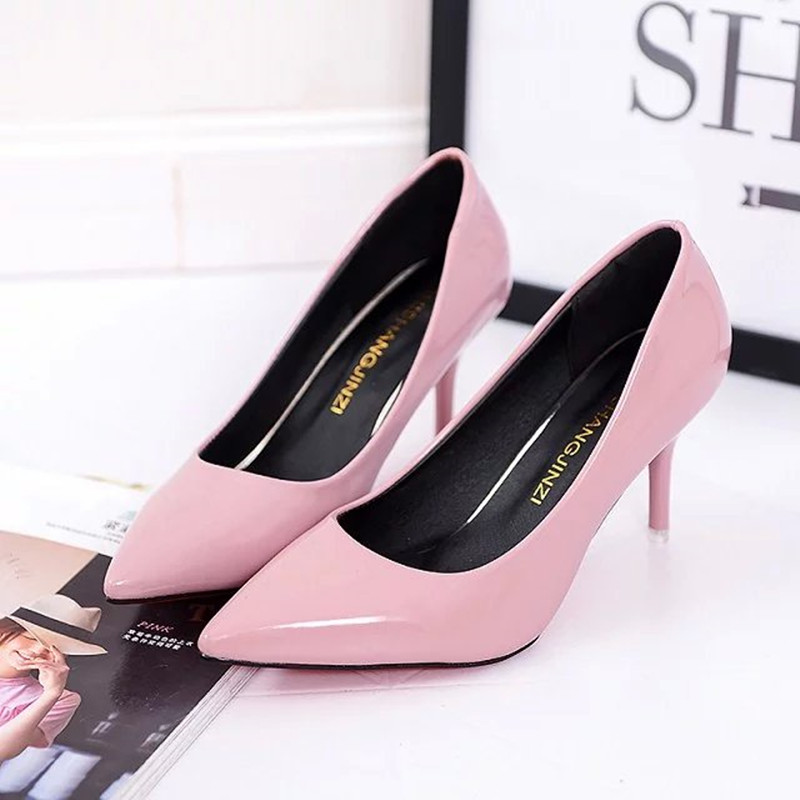 2017 Summer Shoes Pointed Woman High heeled Patent Leather Suede Fine With Variety Of High heeled