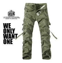 2019  Large size  Men's Overalls  Mens Military Cargo Pants Multi-pockets Baggy  Cotton Pants mens multi pockets thick polar fleece drawstring cargo pants