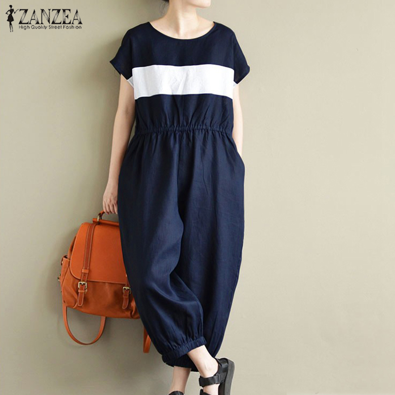 2019 Summer ZANZEA Women Stiped O Neck Short Sleeve Overalls Casual Loose Long Jumpsuits Pockets Rompers Cargo Pants Plus Size