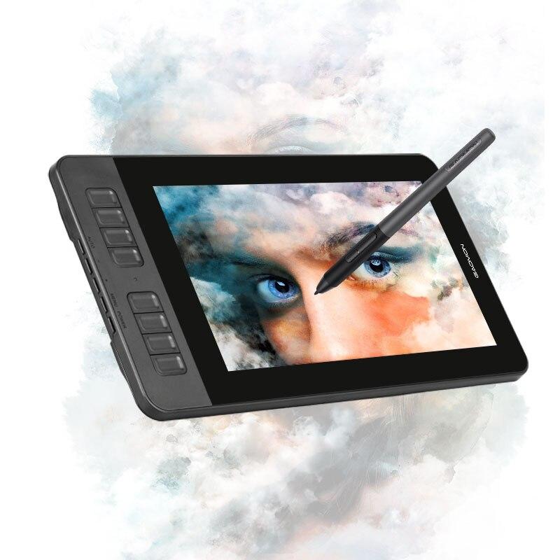 Affichage graphique de stylo de moniteur de tablette de dessin de GAOMON PD1161 IPS HD avec 8 touches de raccourci et stylo sans batterie de 8192 niveaux