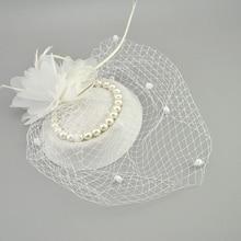 E JUE SHUNG, свадебные сетчатые шляпы с перьями, белые, красные, черные, птичья клетка, сетчатые Свадебные шляпы, свадебные вуалетки, вуали для лица, жемчужные шляпки для невесты