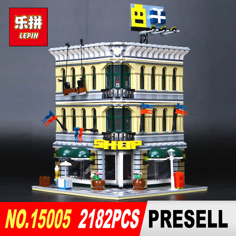 LEPIN 15005 2182Pcs City Grand Emporium Model Building Blocks Kits Brick Toy Compatible Educational 10211 Children DIY Gift a toy a dream lepin 15008 2462pcs city street creator green grocer model building kits blocks bricks compatible 10185