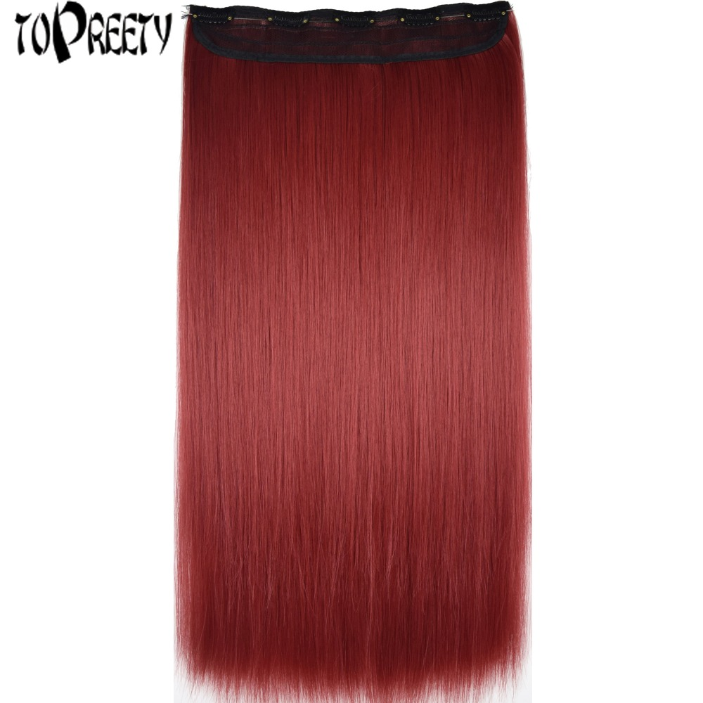 TOPREETY Heat Resistant B5 Synthetic Hair Fiber 28 70cm 130gr Silky Straight 5 Clips on clip in Hair Extensions