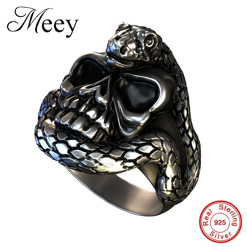 Hnsp Punk Dominant Smokes The Head Skull Ring Finger Knuckle Gothic Color For Men Silver Jewelry Rings Man Anel