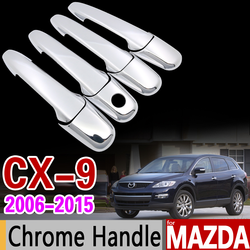 for Mazda CX-9 2006-2015 Chrome Handle Cover Trim Set CX9 CX 9 2007 2008 2010 2011 2013 Car Accessories Stickers Car Styling for mazda cx 5 cx5 2nd gen 2017 2018 interior custom car styling waterproof full set trunk cargo liner mats tray protector