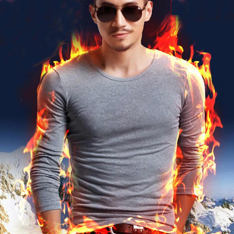 2019 高品質秋冬メンズ暖かい熱 tシャツ男長袖カジュアル O ネックベルベット厚いプラス厚い Tシャツ男性 Tシャツ