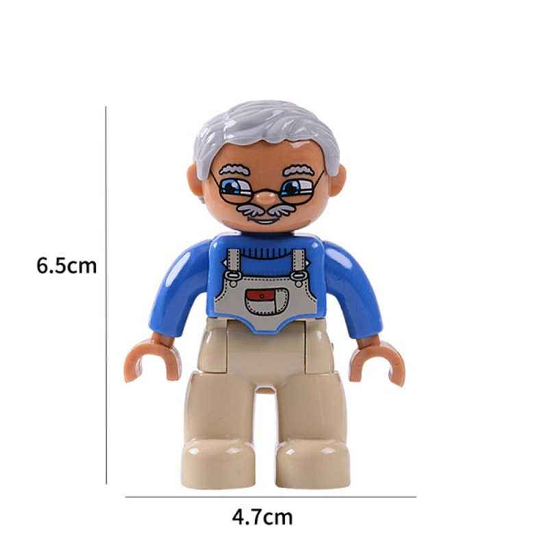 Legoing Duplo בלוקים צעצועי דמויות בן משפחה עובד משטרת חיות רכבת איור אבני בניין תינוק ילדים מתנות Legoings בובה