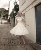 2018 New Arrival Short Bridal Gowns Cap Sleeve Knee Length Lace Wedding Dresses Custom Made Vestidos