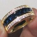 Принцесса-cut Blue Создано Sapphire Ясно CZ Желтого Золота Заполненные Кольцо для Женщин и Мужчин размер 8,9, 10,11, 12,13 бесплатная доставка