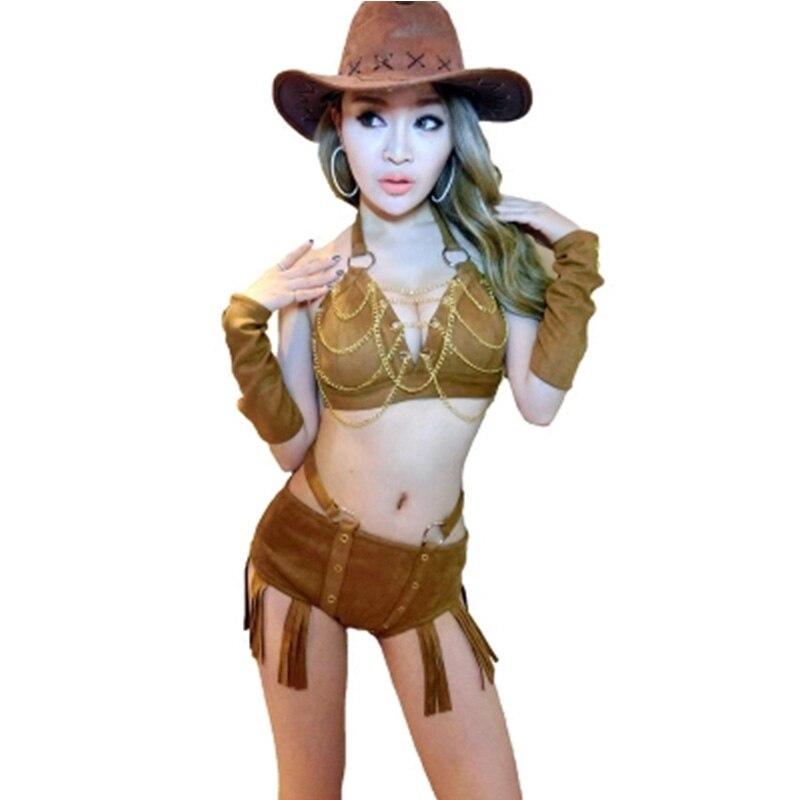 New Female Singer DS Performance Costume Sexy Retro Style DJ Bodysuit Jumpsuit Jazz Dance Costumes Bra+Short+Hat+Cuff 4pcs/set