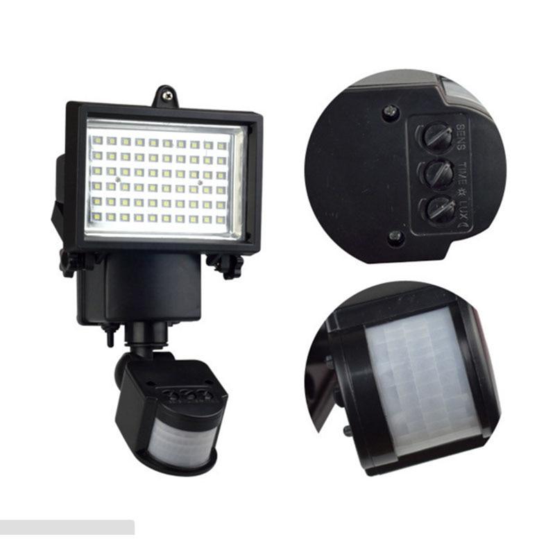 TAMPROAD Outdoor Solar LED Reflector Lights Garden with PIR Motion Sensor Floodlights Spotlights Post Fountain Outside Wall Lamp