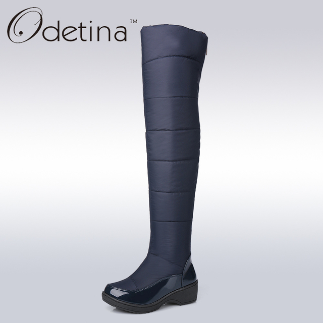 2d6552918eb1 Odetina Warm Cotton Snow Boots Black Over The Knee Long Boots Womens Thigh  High Boots Waterproof Fashion Ladies Winter Shoes