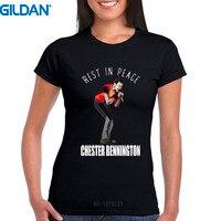 Printed T Shirt Gildan Linkin Park Chester Bennington Short Women Crew Neck Fashion 2017 Tees