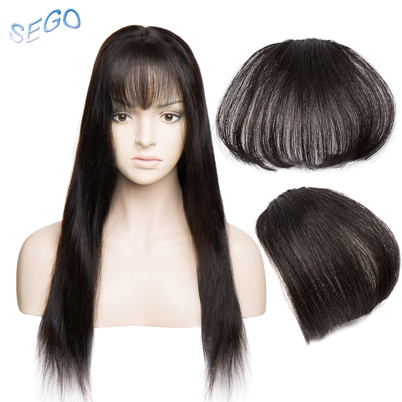SEGO Straight Natural Color Short Front Neat Bangs Clip In Air Blunt Bang Fringe Hair Extensions 100% Non-Remy Human Hair Bangs
