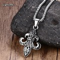 "Mprainbow Mens Necklaces Antique Stainless Steel Vintage Fleur De Lis Pendant Necklace Silver Tone Men Jewelry with 24"" Chain"
