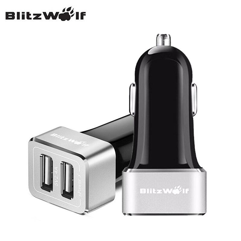 Blitzwolf dual usb cargador de coche cargador de coche universal del teléfono mó