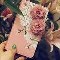 3d rosa rosas bolsos bolsas para iphone 5s caso de cuero suave Tirón de la manera Cubierta Del Teléfono para I5 Marca Capa Para Capinha Fundas