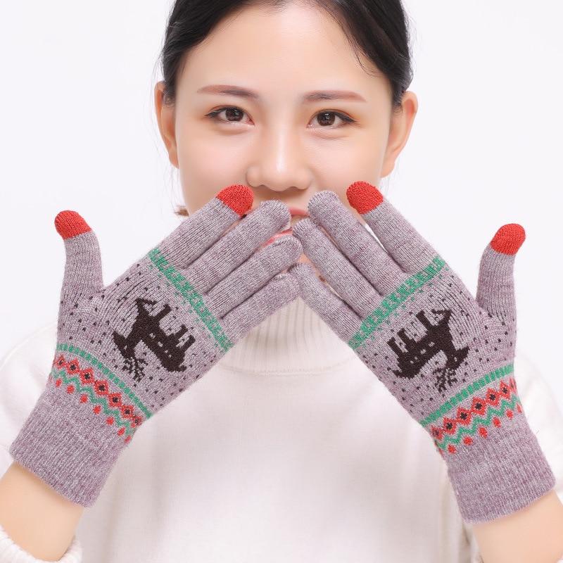 2018 Women's Cute Elk Deer Snowflake Knitted Gloves Full Finger Winter Gloves Touch Screen Mittens Female Gloves Christmas Gift