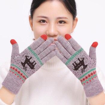 2018 Women's Cute Elk Deer Snowflake Knitted Gloves Full Finger Winter Gloves Touch Screen Mittens Female Gloves Christmas Gift elk snowflake geometric print christmas hoodie