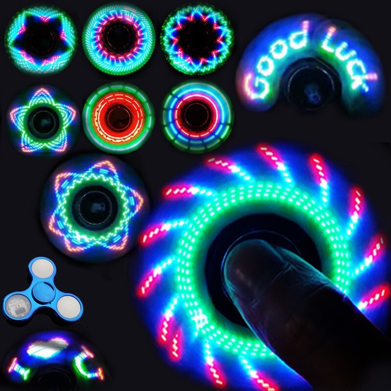 Office Adult Toy LED Finger Spinner Hand Metal Colorful Luminous Fidget Spinner Anti-stress Toy Children's Novelty Toy 78MM