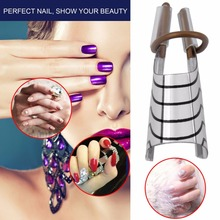 Reusable Nail Care Aluminum Prop Guide Forms Extension Tool Finger Rest for UV Gel Silver Color Adjustable