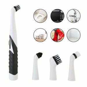 Multifunction Electric Sonic Scrubber Super Cleaning Brush Household Cleaner Brush 4 Brush Heads NEW