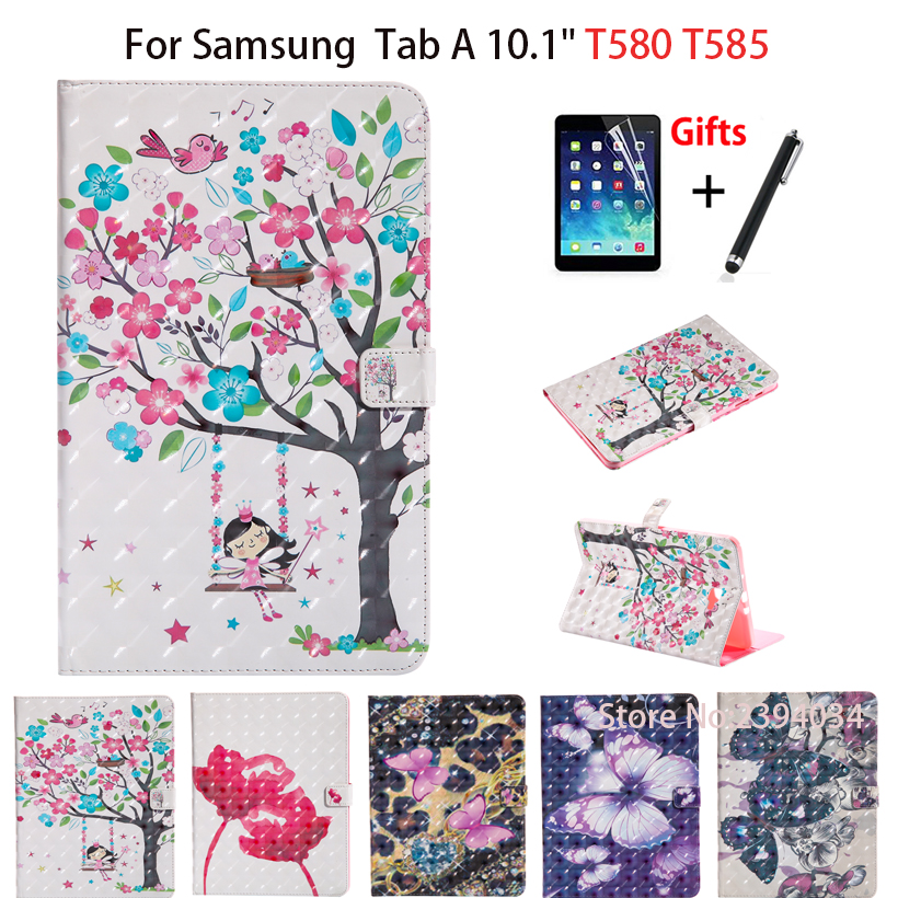 3D Colorful Case For Samsung Galaxy Tab A A6 10.1 2016 SM-T580 T585 T580 Cover Tablet Fashion Cartoon PU Leather Cover+Film+Pen