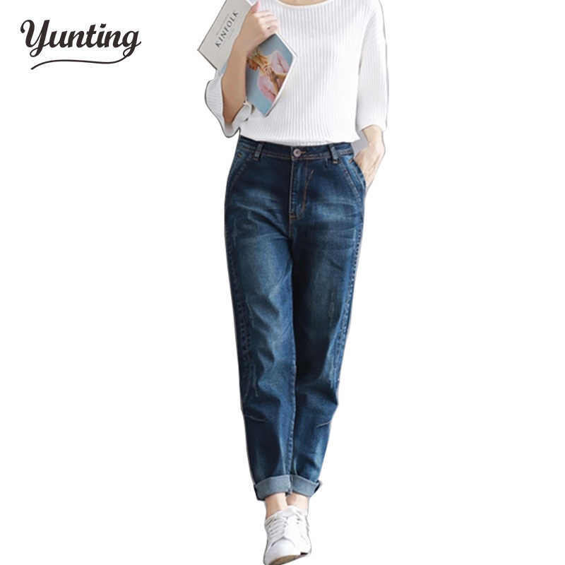 2018 Woman Jeans Plus Size Fashion Elastic Blue Women Mid Waist Casual Harem Jeans Female Cotton Harem Pants Loose Trousers