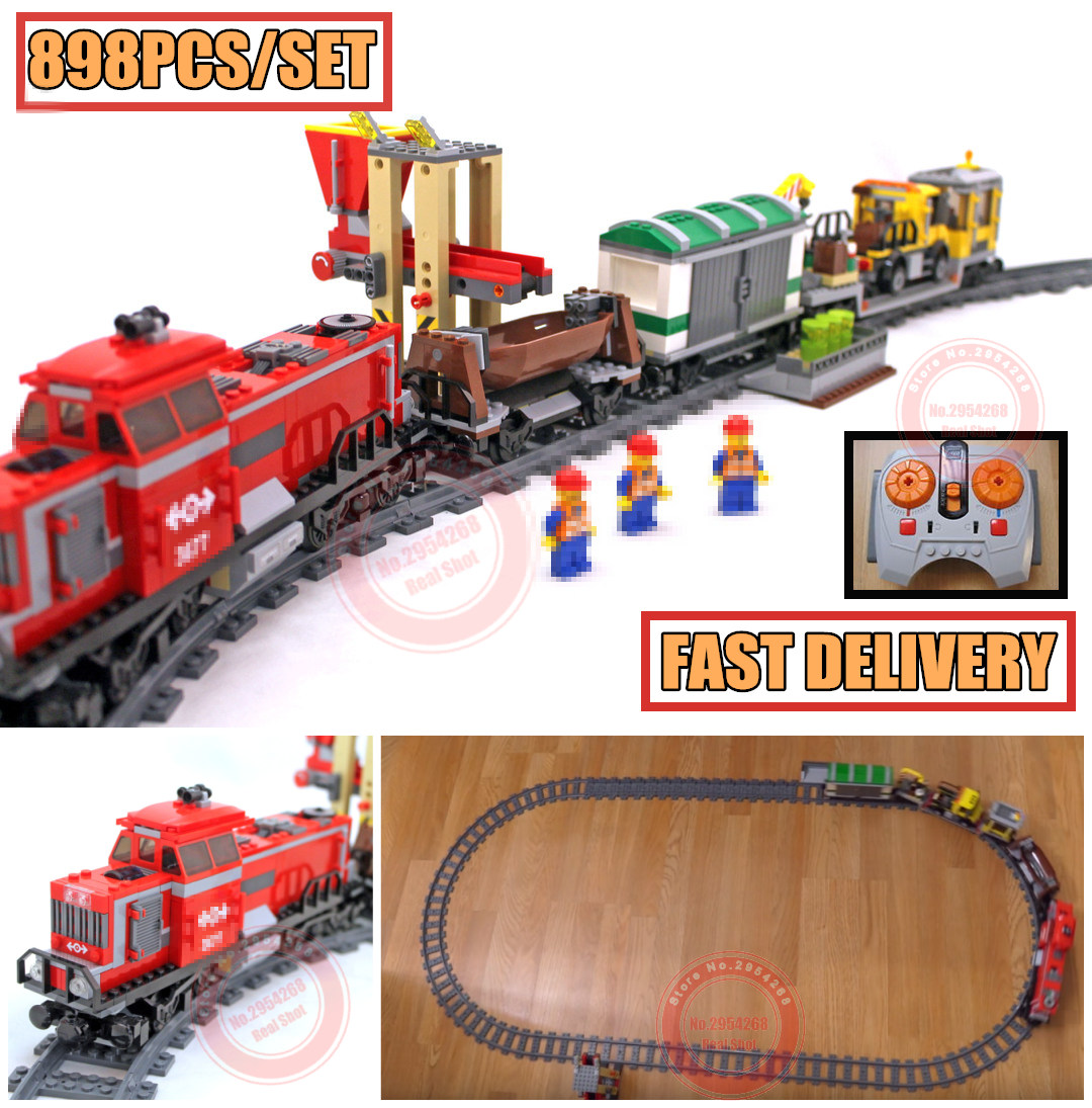 New Red Cargo Train Set City Series fit legoings technic city figures model train Building Blocks bricks Toys DIY Gifts 3677 kid