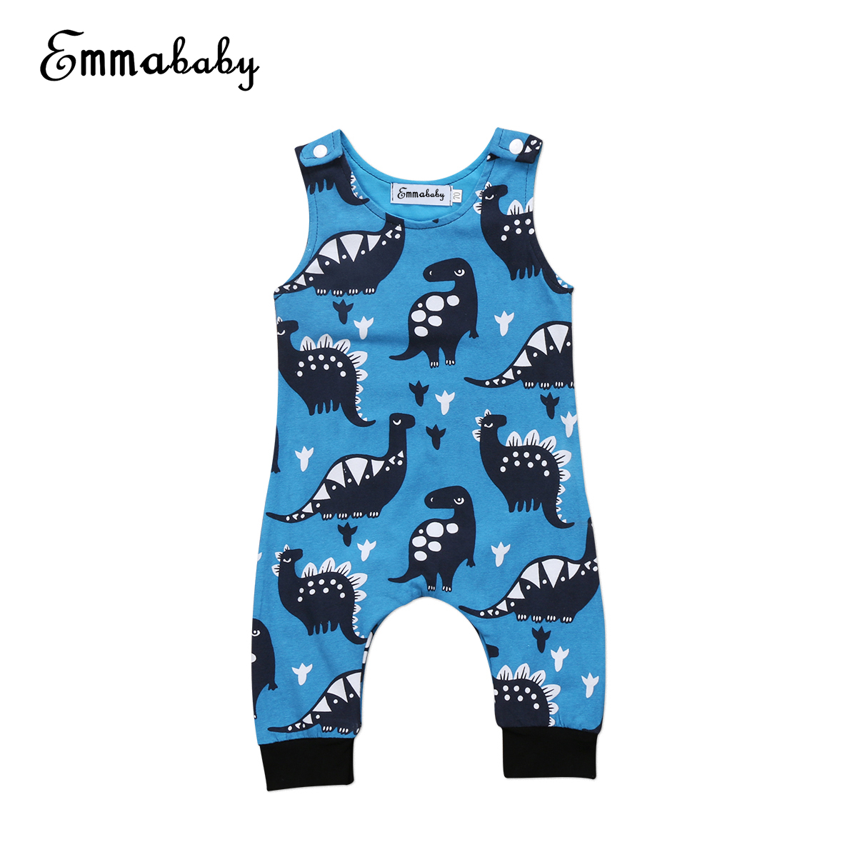 Emmababy Cartoon Dinosaur Baby Rompers 0-18M Newborn Baby Boys Clothes Sleeveless Cotton Jumpsuits Summer Sunsuits cotton baby rompers set newborn clothes baby clothing boys girls cartoon jumpsuits long sleeve overalls coveralls autumn winter