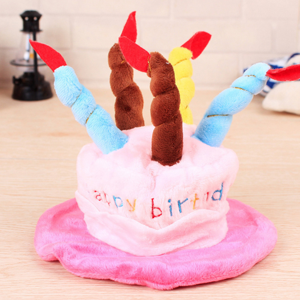 Cute Cat Dog Pet Happy Birthday Party Hat With 5 Colorful Candles Design Cosplay Costume Accessory