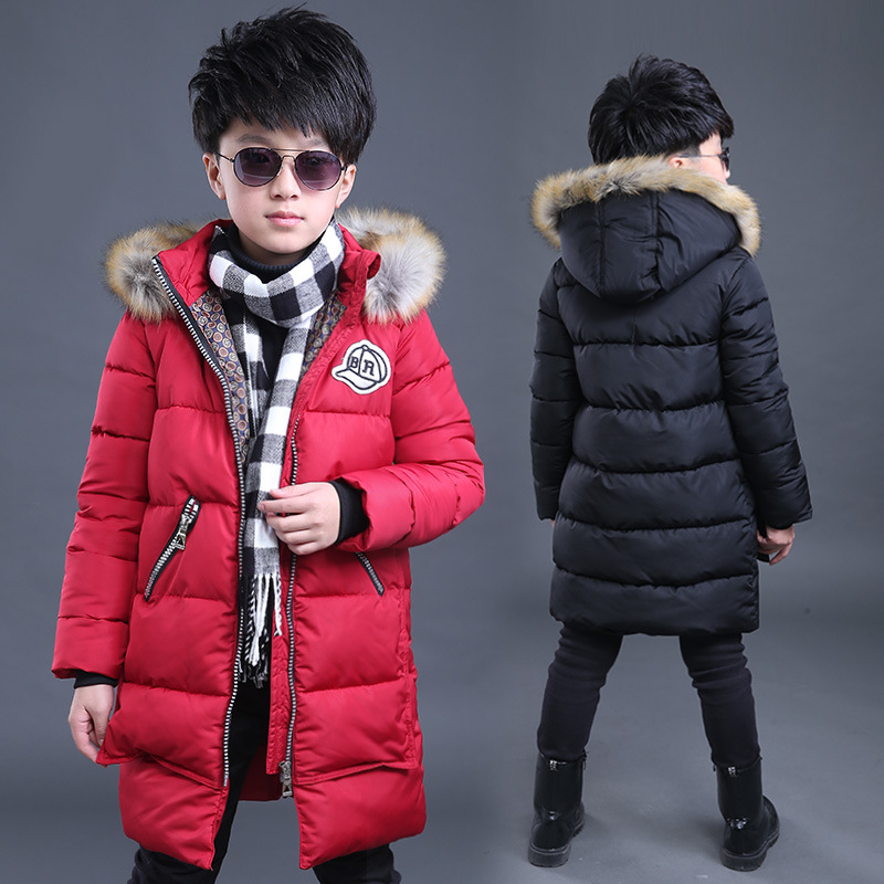 Boys Winter Jacket Parka Kids Fur Collar Coats for Boys Teenager Boys Cotton Coats Children Kids Down Jacket Hooded Kids Clothes boys winter parka jacket kids fur collar coats for teenager boys cotton outwear school children kids down jacket hooded clothes