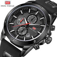 ミニフォーカス高級ブランドメンズスポーツクォーツ腕時計アナログ日付革防水メンズ腕時計クロノグラフレロジオ Masculino