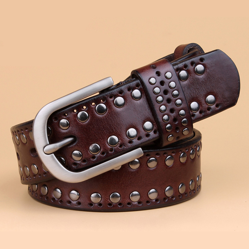 Image 4 - genuine leather rivet belts high quality designer women belts brand waist belt for women casual pin buckle female belts Strap-in Men's Belts from Apparel Accessories