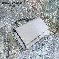 Эмини дом ящерица узор из натуральной кожи, с цепочкой сумка через плечо сумки для женщин Роскошные сумки женские сумки дизайнерские сумки