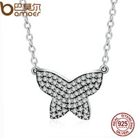 BAMOER Authentic 925 Sterling Silver Dancing Butterfly Clear CZ Pendants Necklace For Women Silver Jewelry PSN018