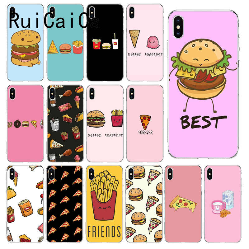 RuiCaiCa Cute food french fries burger pizza Coque Shell Phone Case for iPhone 6S 6plus 7 7plus 8 8Plus X Xs MAX 5 5S XR 10