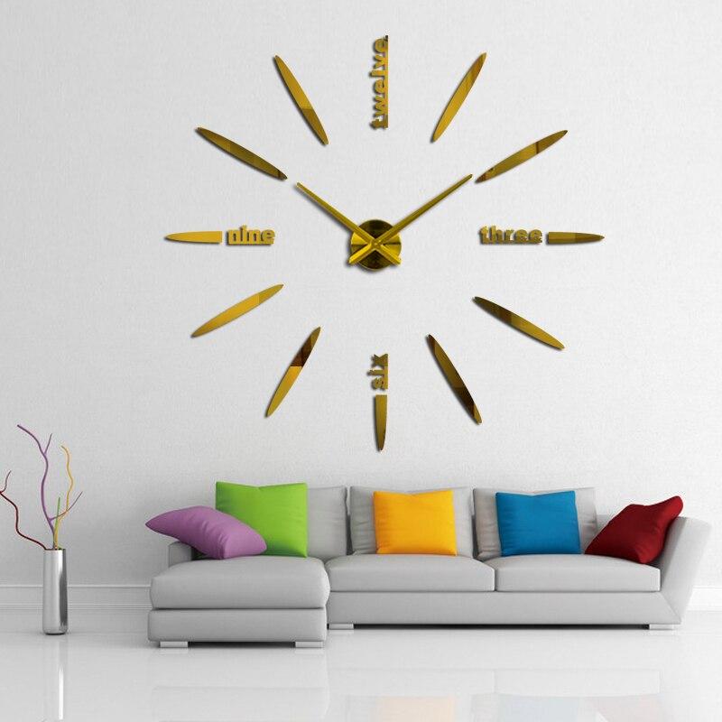 Hot 2019 μεγάλο 3D DIY ρολόι τοίχου ρολόι - Διακόσμηση σπιτιού - Φωτογραφία 3