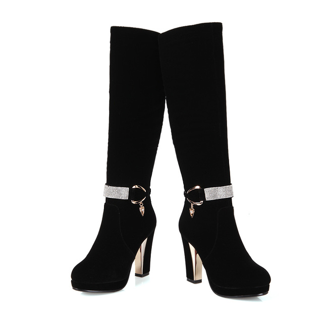 ASYSPLNX Nubuck Black,Red Round toe Square high heels women fashion martin boots Autumn Western metal belt buckle ladies shoes