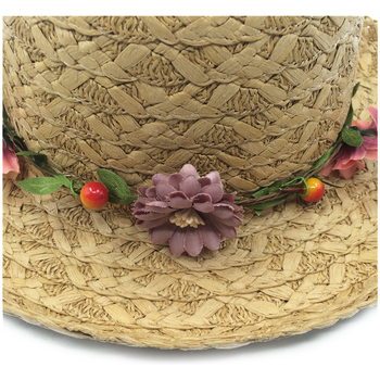 Beauty Floral Sun Hat Summer Children Straw Hats With Garland Large Brim Sunbonnet Girls Beach Hats Parent-child Sunhats YY18077