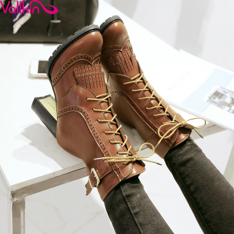 ФОТО VALLKIN2016 Tassel Fashion Women Shoes Square High Heel Ankle Boots Pointed Toe Lace Up Women Motorcycle Boots Plus Size 34-43
