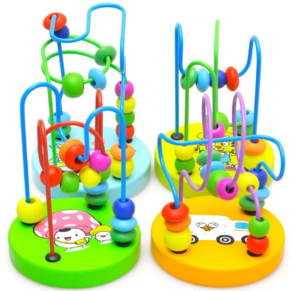 Toy string around toy beads Educational Baby Kids Wooden Around Beads Toy Toddler Infant Intelligence Toys 12.5*9.3 ot24 p30
