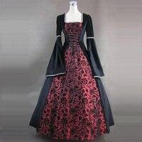 Может быть на заказ 2018 новые красные и синие Цветочный принт Викторианской стимпанк платья 18th века Свадебная вечеринка платье костюмы
